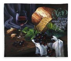 Bread And Wine Fleece Blanket