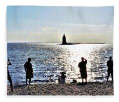 Breakwater East End Beach Scene Fleece Blanket