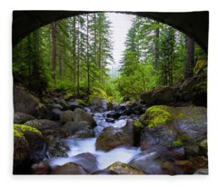 Bridge Below Rainier Fleece Blanket