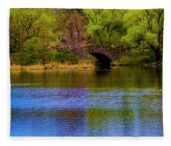 Bridge In Central Park Fleece Blanket