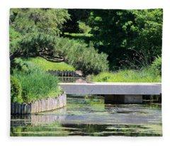 Bridge Over Pond In Japanese Garden Fleece Blanket