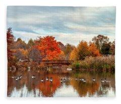 Bridge Over The Pond Fleece Blanket