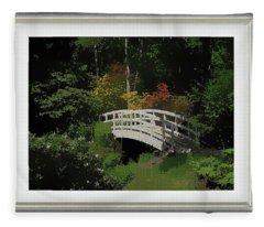 Bridge To The Azalea Gardens Fleece Blanket