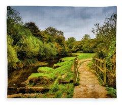 Bridge With Falling Colors Fleece Blanket
