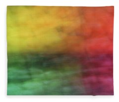 Bright Abstract Blurred Color Blocks Of Yellow, Orange, Red And Green Fleece Blanket