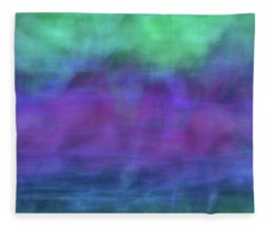 Bright Artistic Abstract Blurred Lines And Shapes Of Purples, Blues And Greens Textures Fleece Blanket