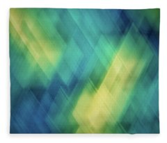 Bright Blue, Turquoise, Green And Yellow Blurred Diagonal And Diamond Shapes Fleece Blanket
