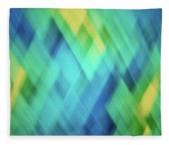 Bright Blue, Turquoise, Green And Yellow Blurred Diamond Pattern Abstract Fleece Blanket