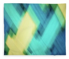 Bright Blue, Turquoise, Green And Yellow Blurred Diamond Shapes Abstract  Fleece Blanket