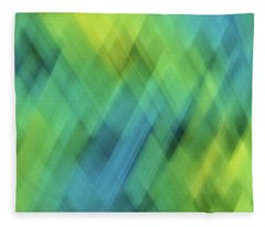 Bright Blue, Turquoise, Green And Yellow Blurred Diamond Shapes And Lines Abstract  Fleece Blanket