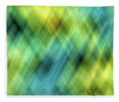 Bright Blue, Turquoise, Green And Yellow Blurred Diamond Shapes Fleece Blanket