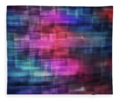 Bright Blurred Square Shapes Of Blue, Turquoise,  Pink, Purple And Orange Abstract Fleece Blanket