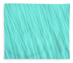 Bright Turquoise Blue Blurred Diagonal Lines Abstract  Fleece Blanket