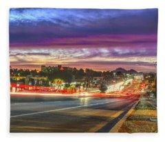 Broadway Sunset, Tucson, Az Fleece Blanket