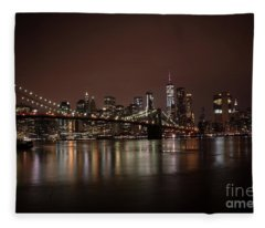 Brooklyn Bridge At Night 1 Fleece Blanket