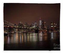Brooklyn Bridge At Night 1 Fleece Blanket