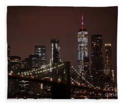 Brooklyn Bridge At Night 2 Fleece Blanket