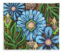 Brown And Blue Floral 1 Fleece Blanket