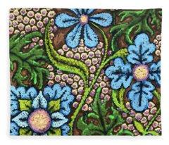 Brown And Blue Floral 2 Fleece Blanket