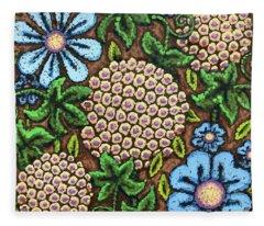 Brown And Blue Floral 3 Fleece Blanket