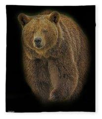 Brown Bear In Darkness Fleece Blanket