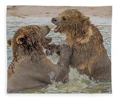 Brown Bears Fighting Fleece Blanket