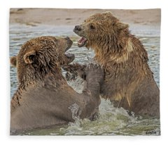Brown Bears Fighting Fleece Blanket