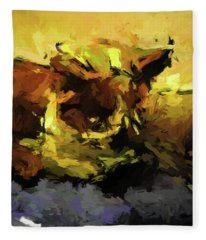 Brown Cat On The Cushion Fleece Blanket