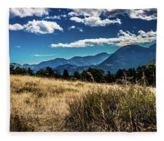 Brown Grass And Mountains Fleece Blanket