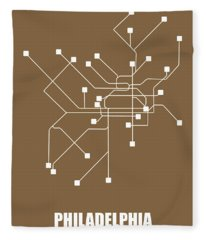Brown Map Of Philadelphia Subway Fleece Blanket