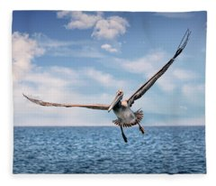 Brown Pelican Number Three Fleece Blanket