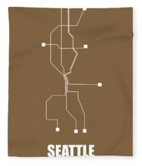 Brown Seattle Subway Map Fleece Blanket