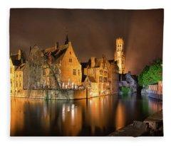 Brugge Belgium Belfry Night Fleece Blanket
