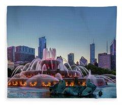 Buckingham Fountain - Panorama Fleece Blanket