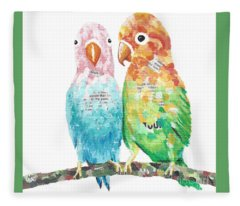 Budgies In Love Fleece Blanket