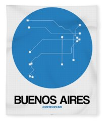 Buenos Aires Blue Subway Map Fleece Blanket