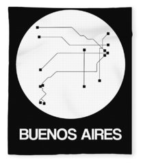 Buenos Aires White Subway Map Fleece Blanket