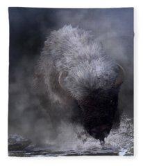 Buffalo Charging Through Snow Fleece Blanket