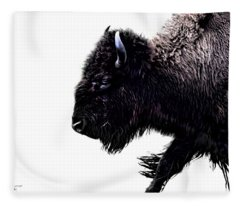 Buffalo On White Fleece Blanket