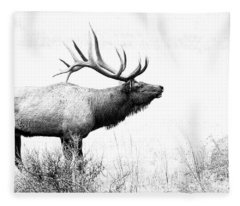 Bull Elk In Rut Fleece Blanket