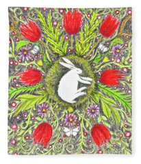 Bunny Nest With Red Flowers And White Butterflies Fleece Blanket