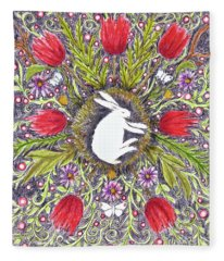 Bunny Nest With Red Flowers Variation Fleece Blanket