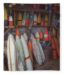 Buoys In A Sea Shack Fleece Blanket