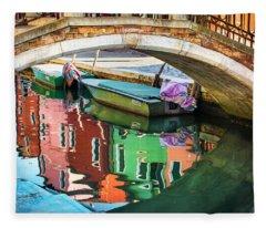 Burano Bridge Reflections Fleece Blanket