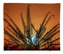 Burmese Fern At Sunset Fleece Blanket