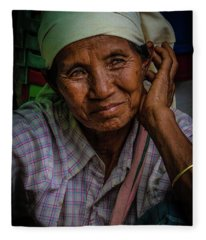 Burmese Lady Fleece Blanket