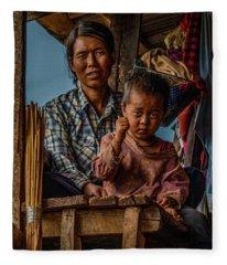 Burmese Mother And Child Fleece Blanket