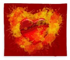 Burning Heart Fleece Blanket