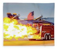 Burst Of Flames Jet Fire Truck Fleece Blanket