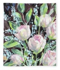 Burst Of Roses Flowers Bouquet Floral Impressionism  Fleece Blanket